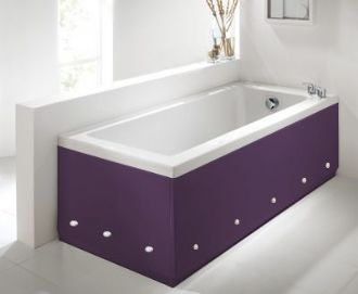 Luxury Aubergine 2 Piece adjustable Bath Panels with LED Lights